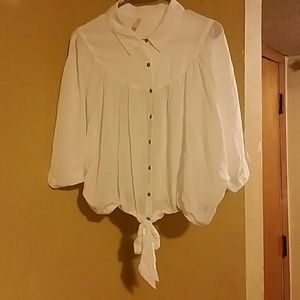 Free People button down, tie up blouse M